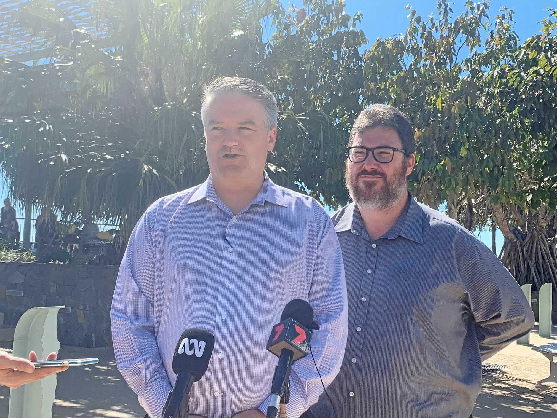 Finance Minister Mathias Cormann with Dawson MP George Christensen in Mackay.