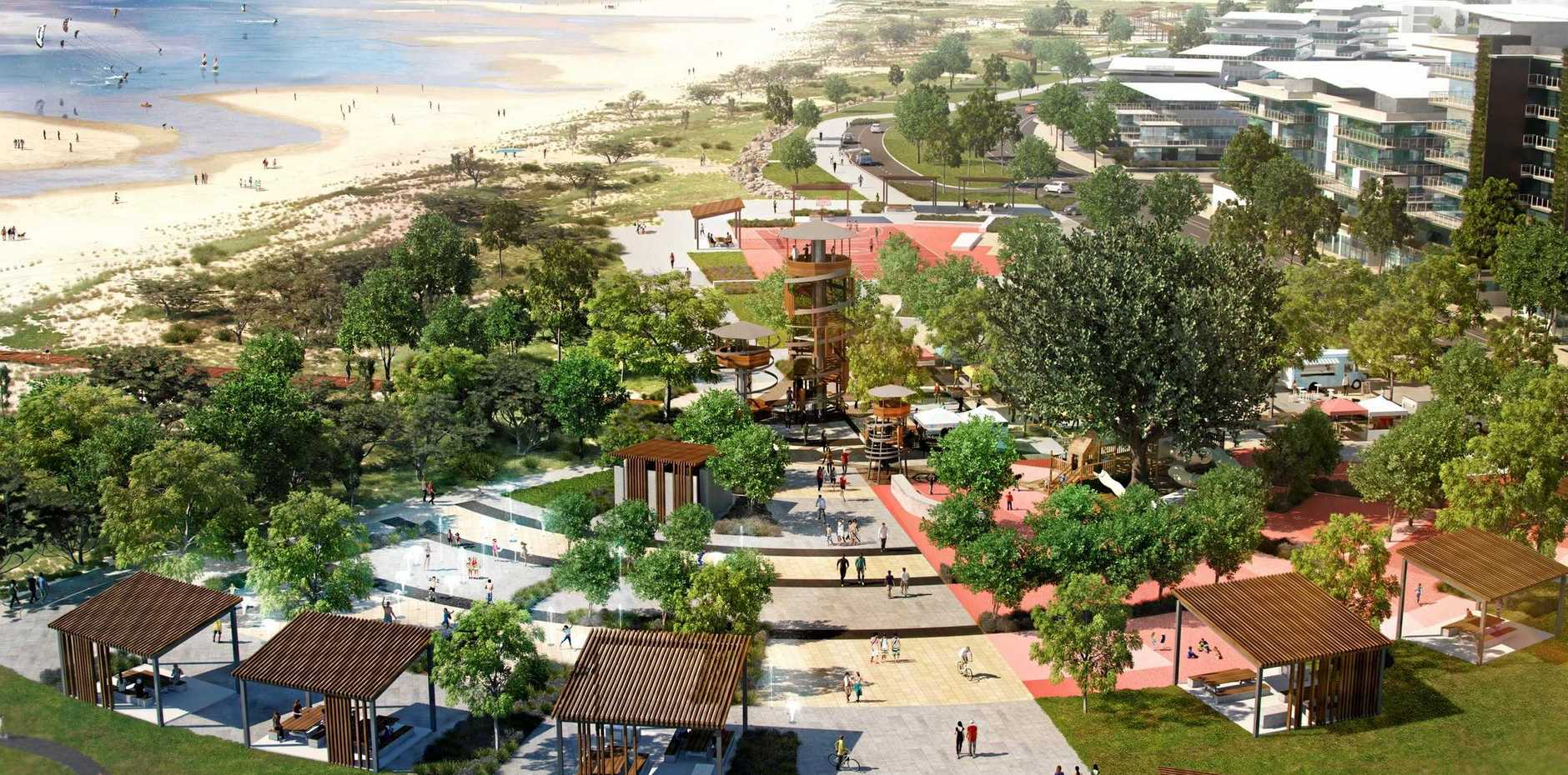 An artist's impression of the public realm areas in precinct five of Mackay's Waterfront PDA.