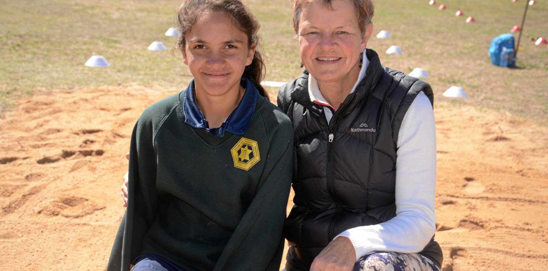 Recordholders Denika Murray and Susan Swann at Warwick All Schools Sports.