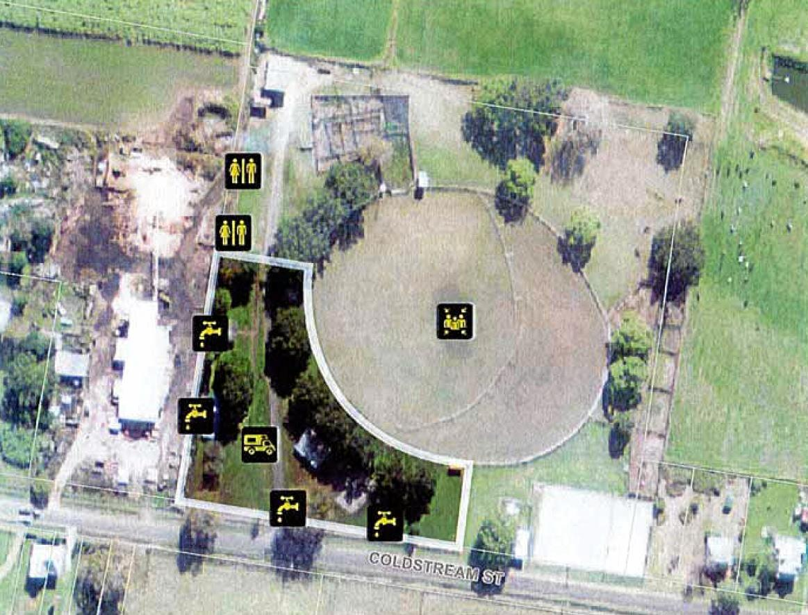 An aerial view of Small Park, Ulmarra, where Clarence Valley Council wants to establish eight recreational vehicle camp sites.