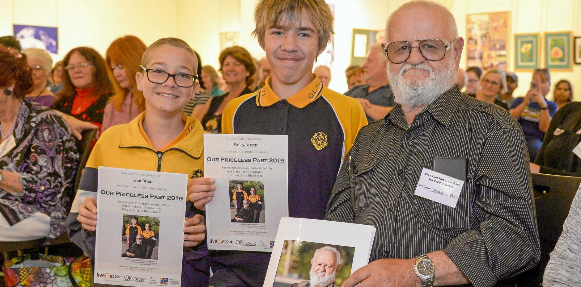 The 2019 Our Priceless Past exhibition was launched at Gladstone Regional Art Gallery and Museum on Thursday 22 August. PICTURED: Trevor Davis, Bailey Barrett and Ryan Brodie.