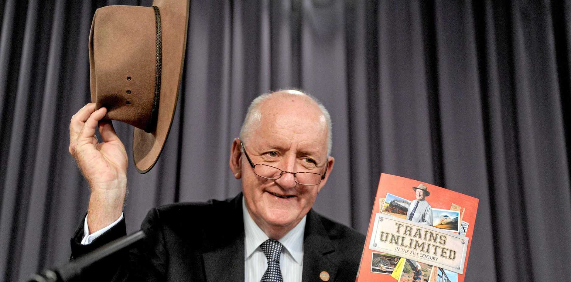 Former ambassador to the Holy See Tim Fischer poses for photographs before his speech at the National Press Club in Canberra, Wednesday, Feb. 1, 2012. Mr Fischer spoke on diplomacy overseas. (AAP Image/Alan Porritt) NO ARCHIVING
