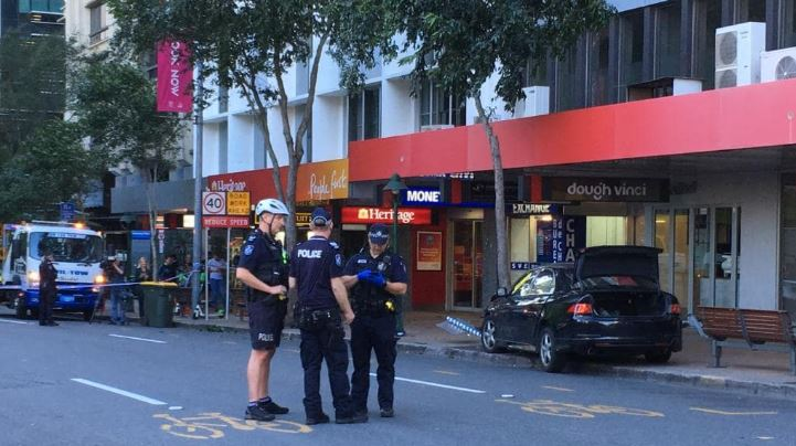 Police at the scene of a pedestrian crash in Brisbane's CBD. Picture: Nicole Pierre