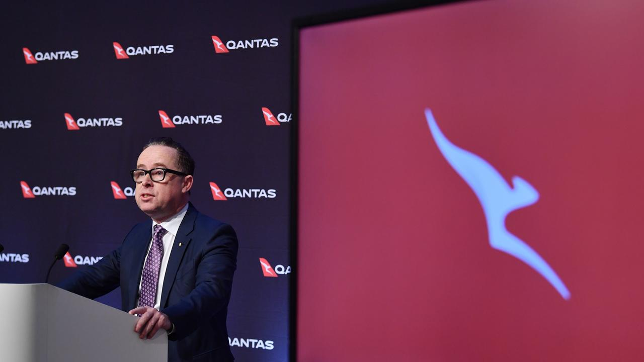 Qantas Group CEO Alan Joyce at the press conference in Sydney on Thursday. Picture: AAP/Dean Lewins