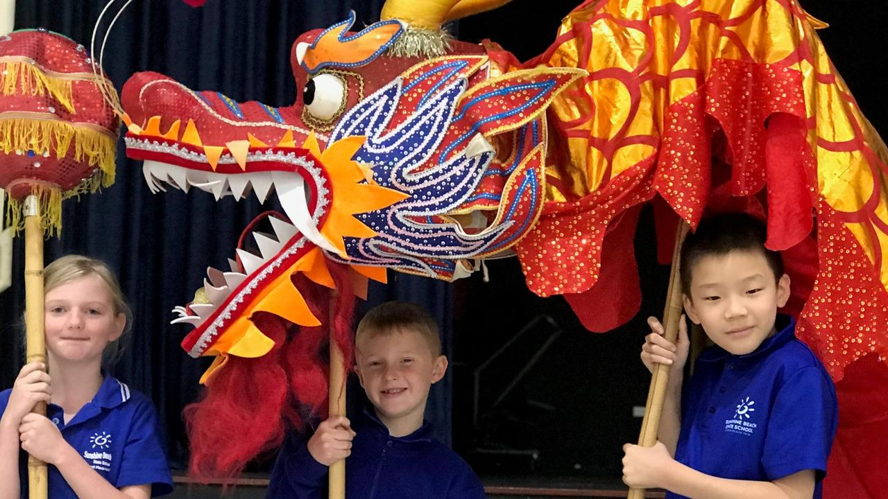 A dragon dancing into class made sure the Sunshine Beach State School kids were not dragging their feet.