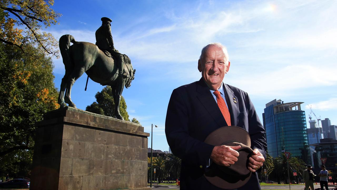 Tim Fischer at the Sir John Monash statue in Kings Domain in Melbourne in 2018. Picture: Aaron Francis/The Australian