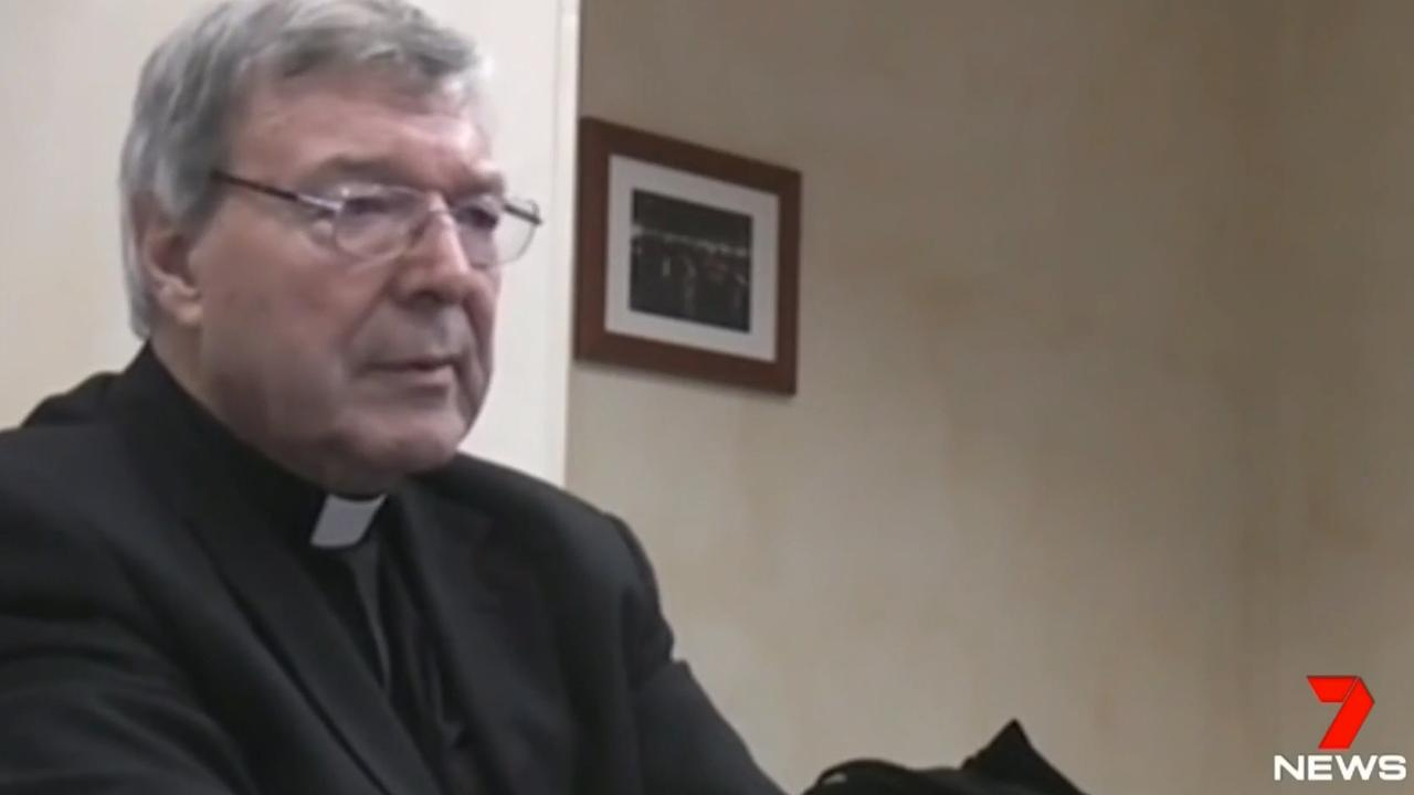 Footage of Cardinal George Pell being interviewed police in Rome.