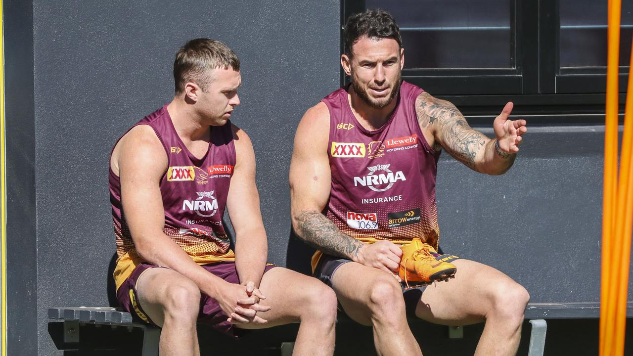Jake Turpin and Darius Boyd chat during a training session. Picture: AAP Image/Glenn Hunt