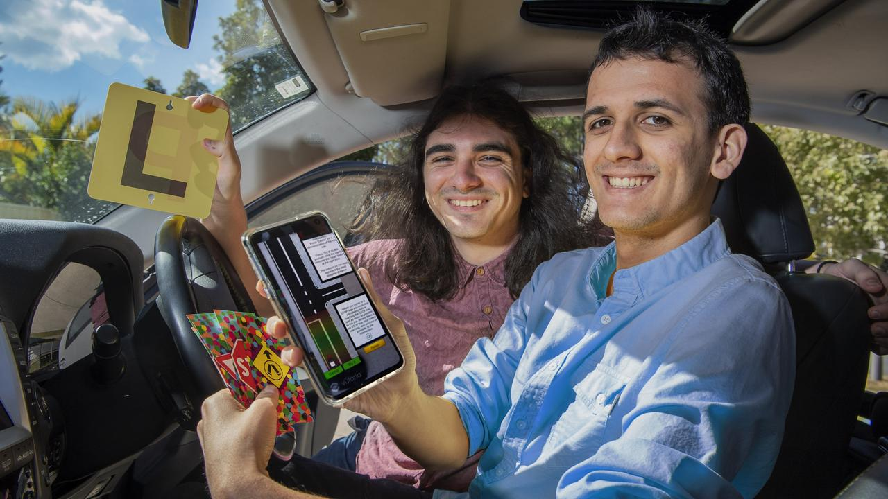 The pair developed the app to help those learning to drive. Picture: Cavan Flynn