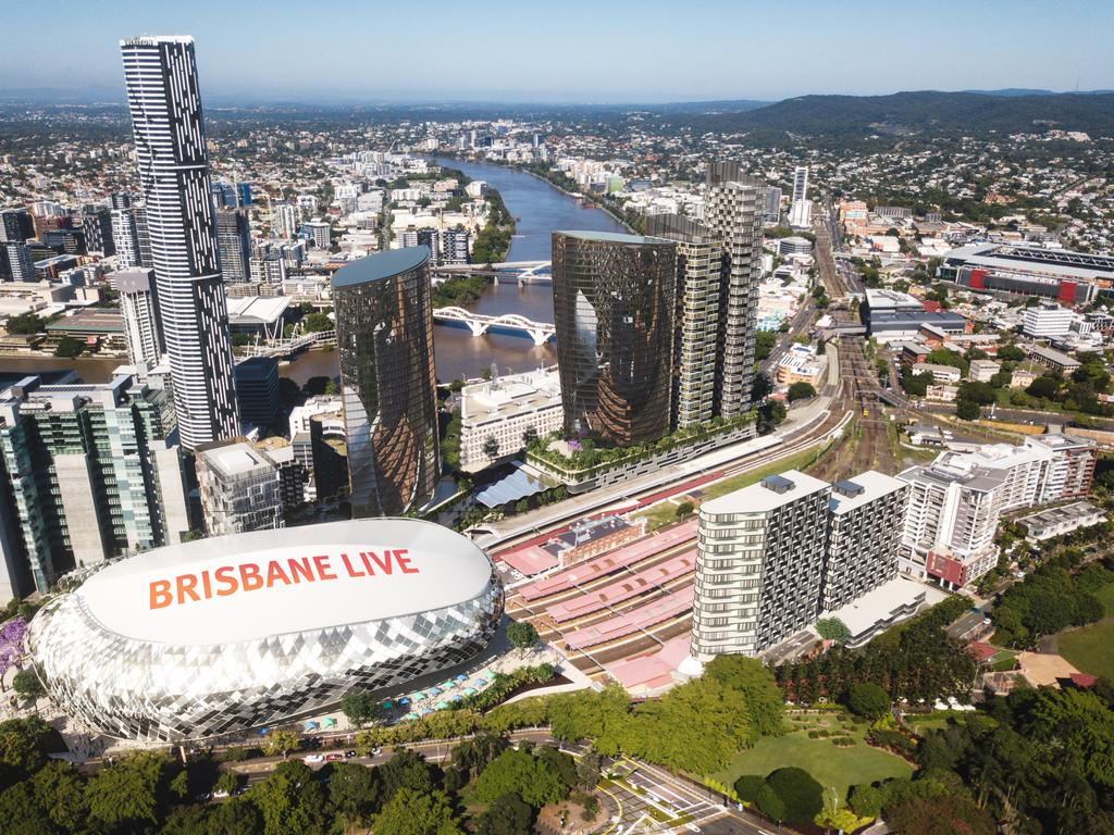 An artist's impression of the Brisbane Live precinct.