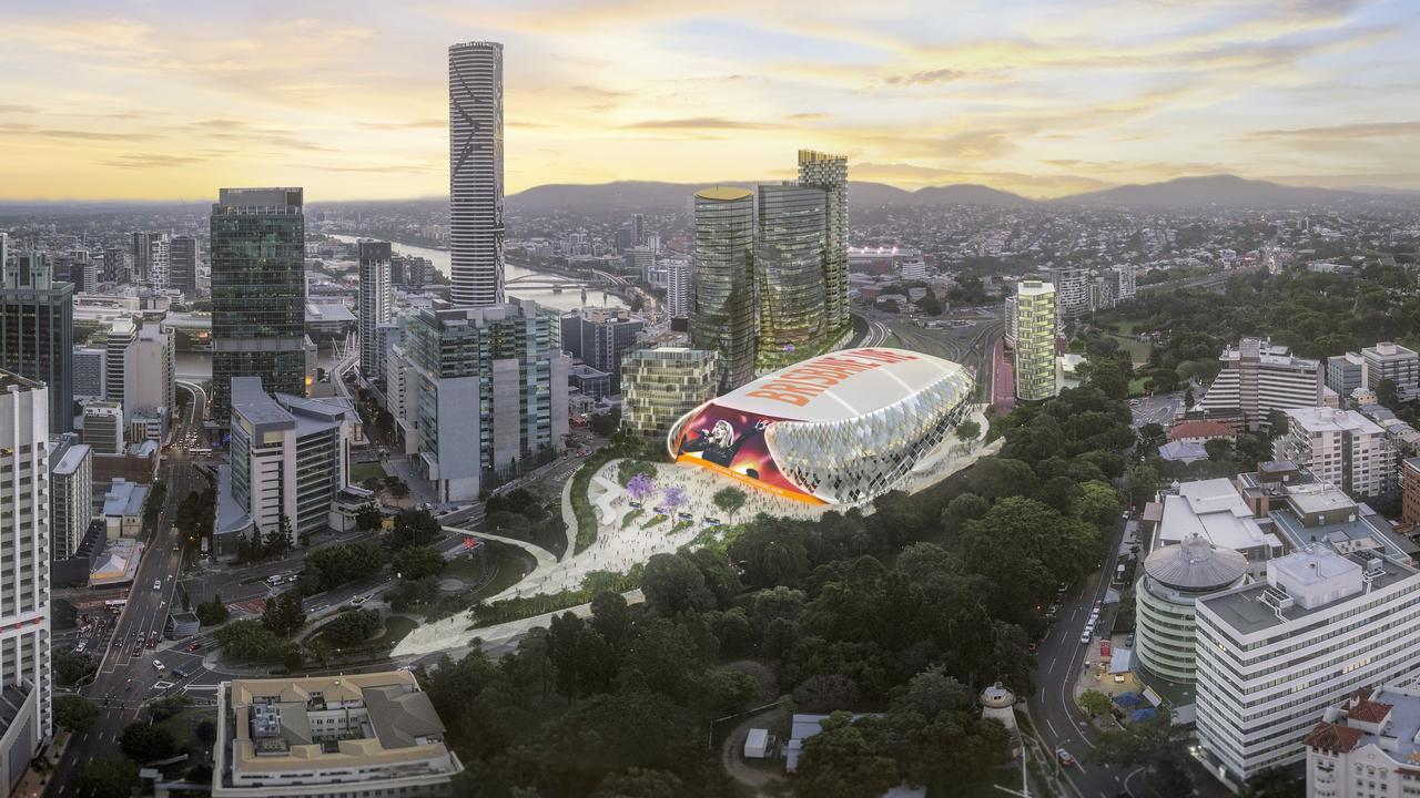 Artists impressions of the Brisbane Live precinct in Brisbane that would transform the area around the Roma Street Station