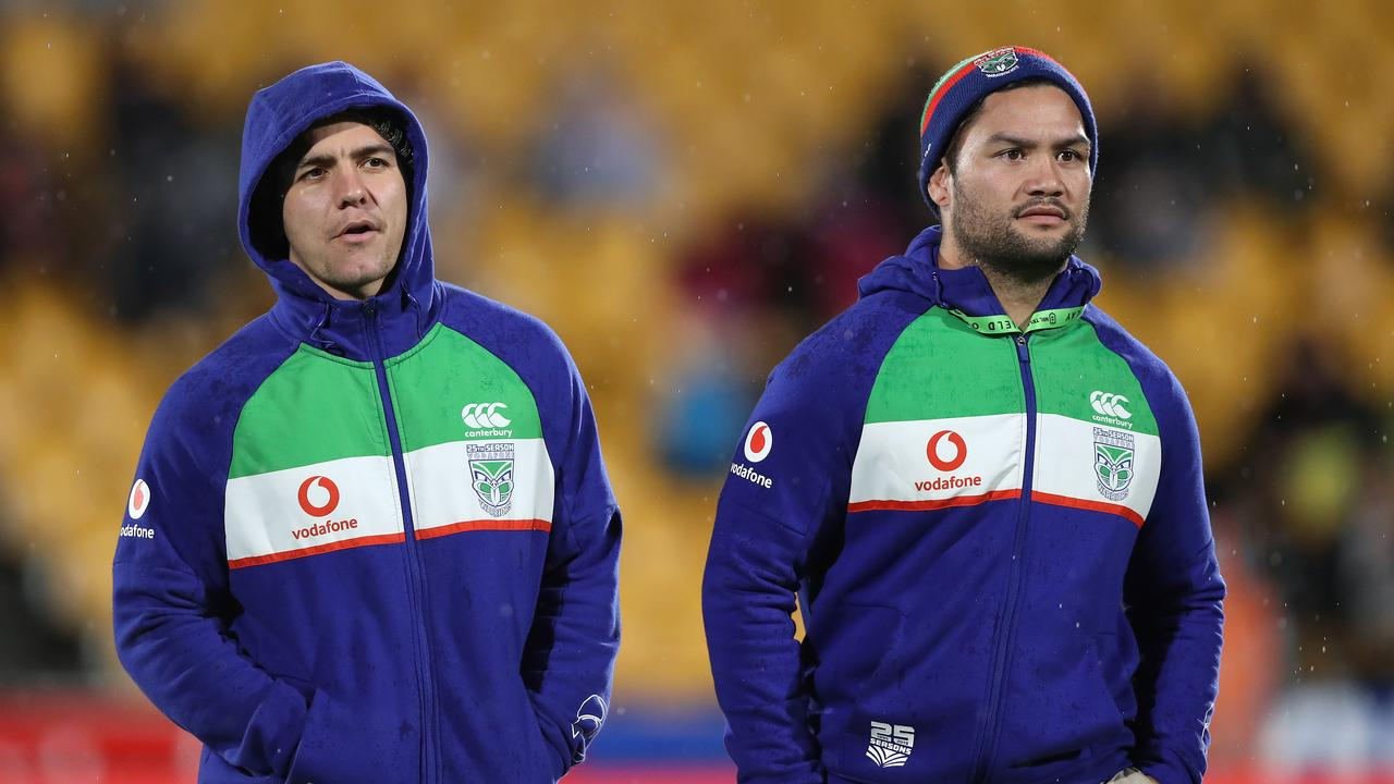 Kodi Nikorima (left) with teammate Issac Luke. Picture: Hannah Peters/Getty Images