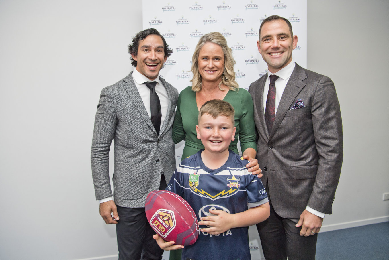 ( From left ) Johnathan Thurston, Alison Kennedy and Cameron Smith with Wil Sorensen ( in front ) at the Toowoomba Hospital Foundations Legends at Their Game function at Rumours International. Friday, 23rd Aug, 2019.