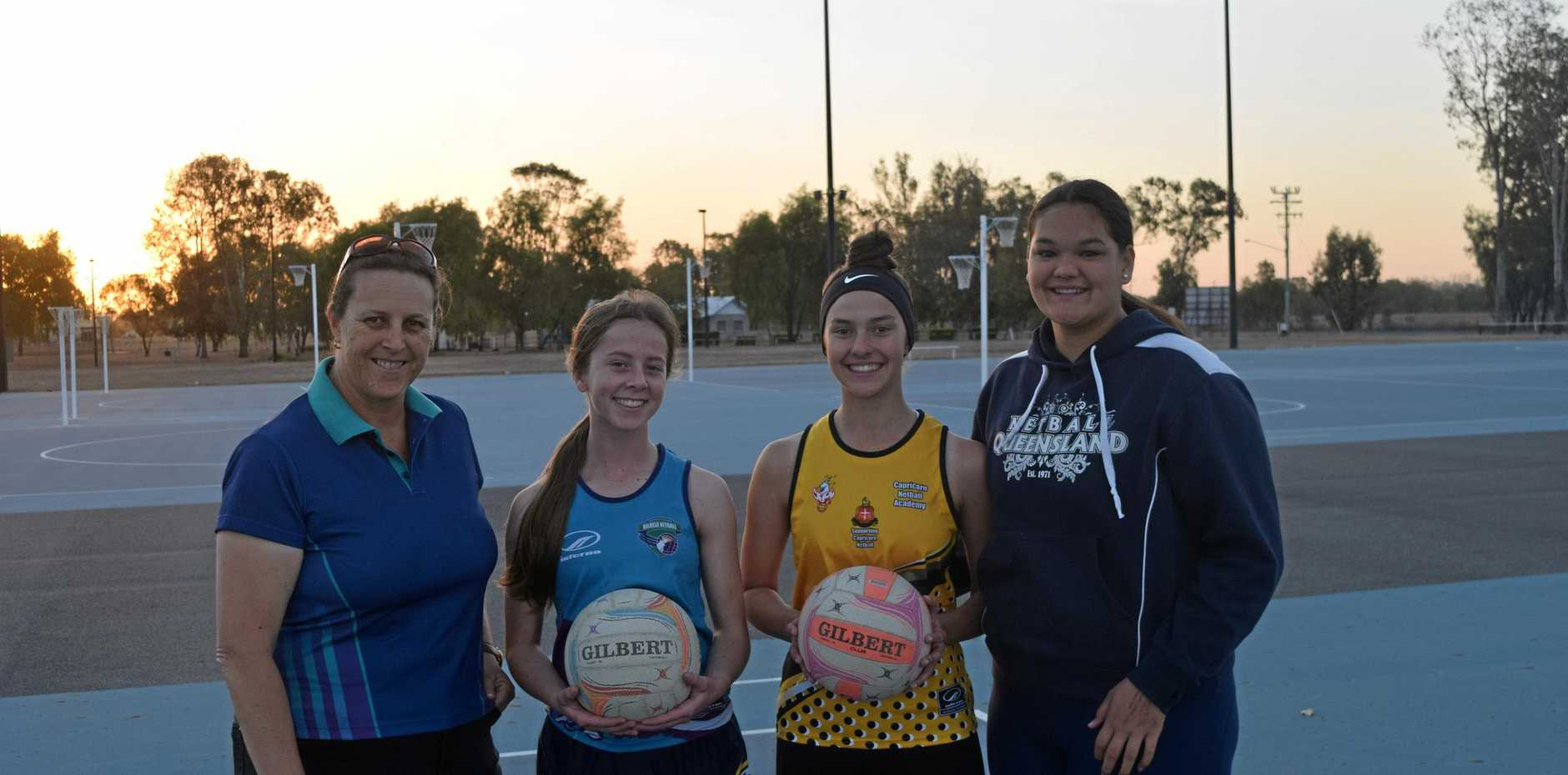 AWESOME FOURSOME: Shari Hancock will coach Brylea Griffiths, Zali Middleton and Zali Eckel at the U16 state championships.