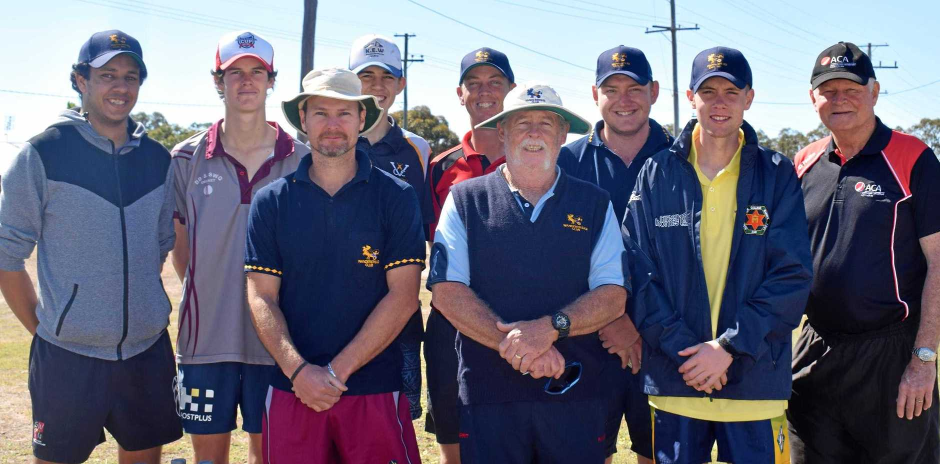 LEARNING FROM THE BEST: The Wanderers with two local Miles cricketers who participanted in their coaching clinic.