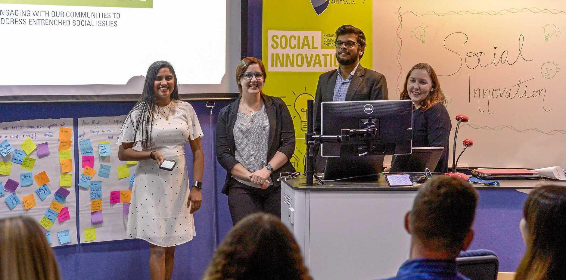 Dulmi Ranatunga, Renee Baker, Miten Kashiyani and Natalie Price giving their presentations as part of the CQUniversity Gladstone social innovation workshop.