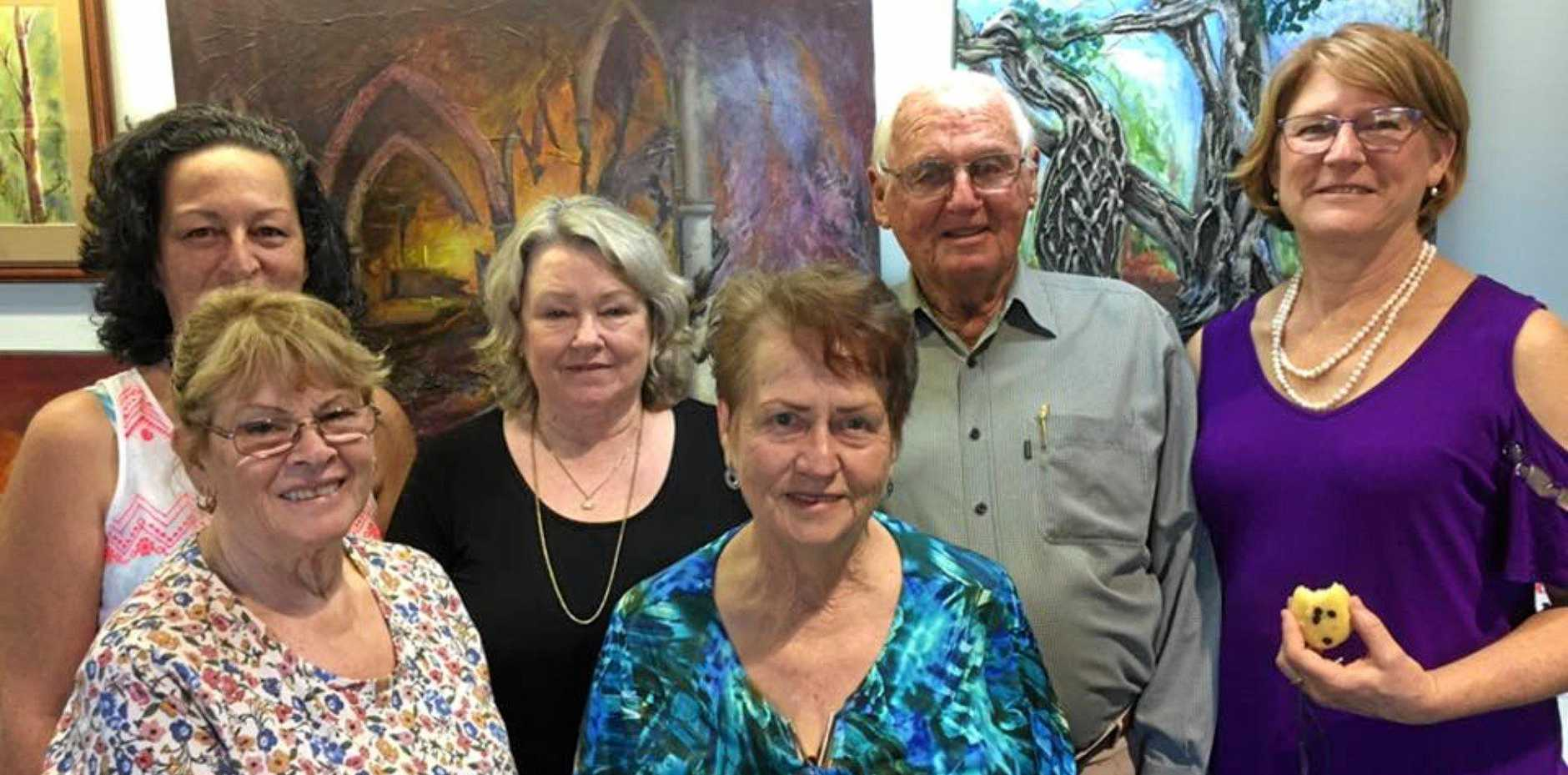 ON SHOW: Exhibiting paintings at Proserpine Museum are (back) Ingrid Ruck, Kim Bailey, Mitch Clarke, Leigh Skeav, (front) Sandra Hall and Dawn Pearce.