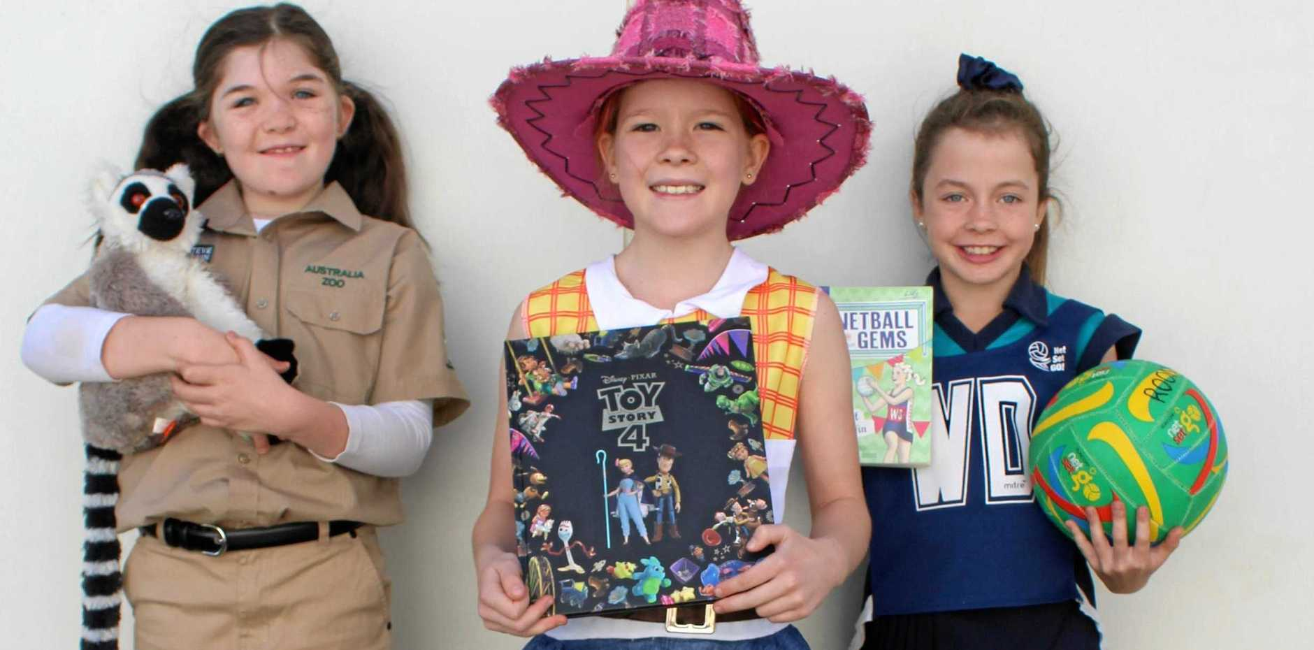 Kolbie West, Emily Morgan and Chloe Roon at the Kingaroy State School Book Week Parade.
