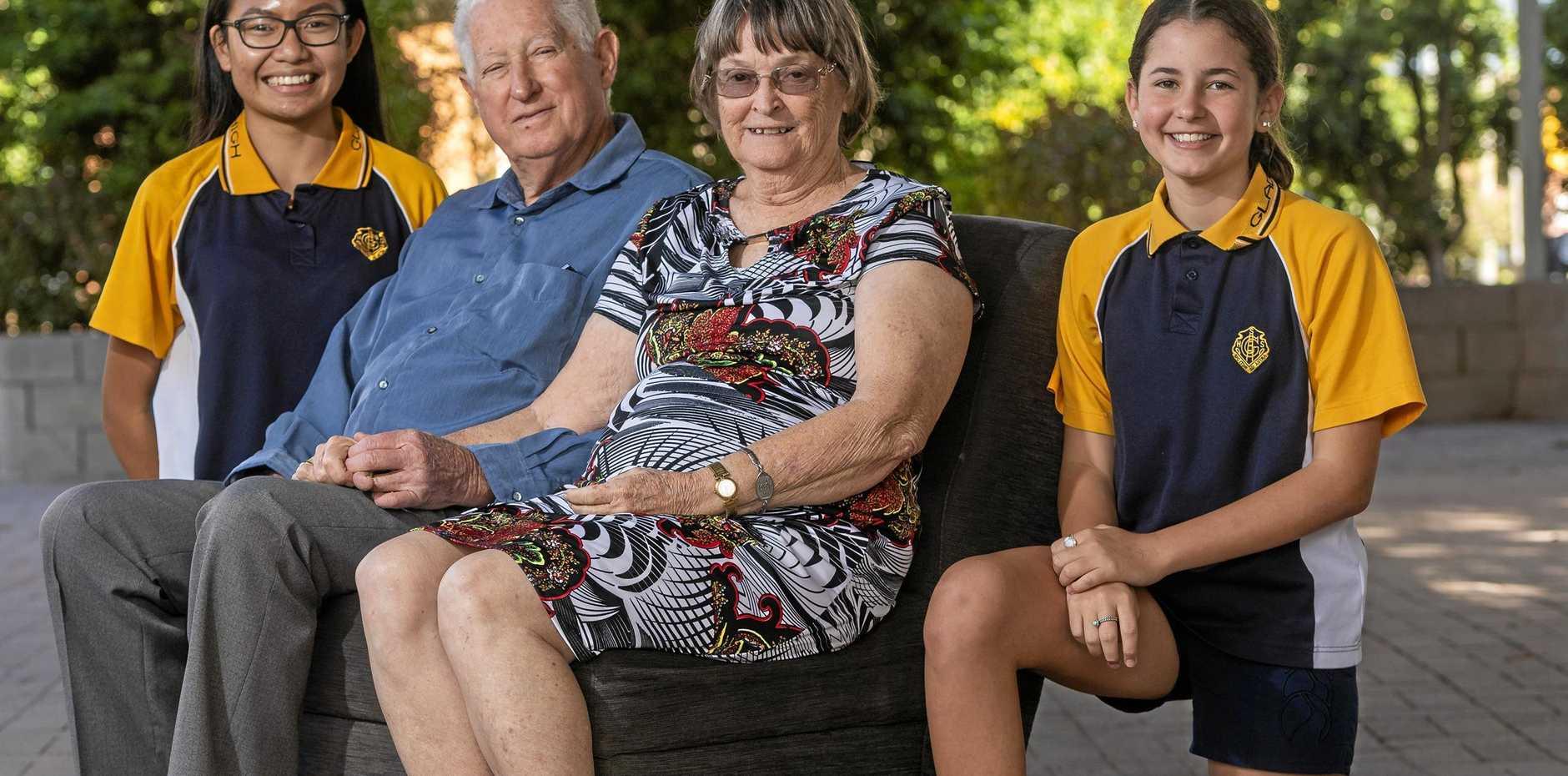 Gladstone seniors Searle with Rommiel Malig (L) and Finlae Harris (R).