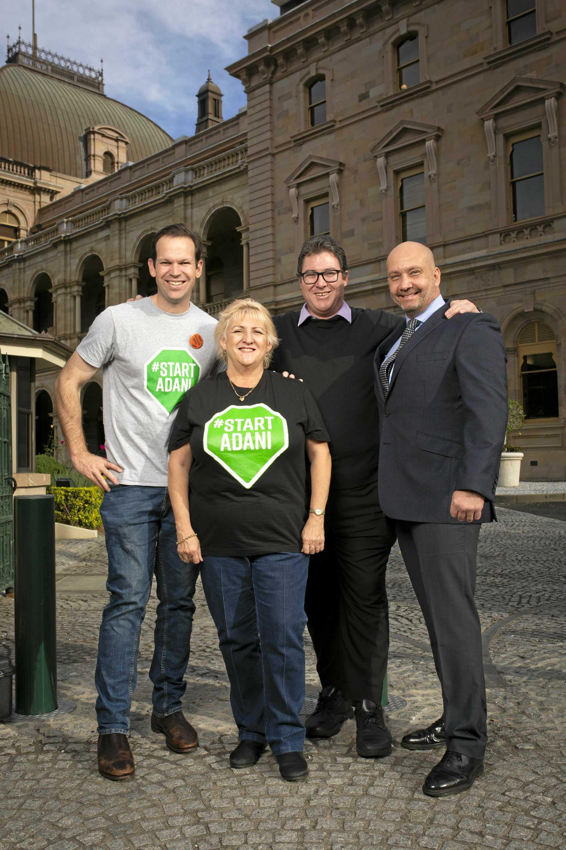 Shine Energy CEO Ashley Dodd (right) with Senator Matt Canavan, Capricornia MP Michelle Landry and Dawson MP George Christensen in Brisbane.