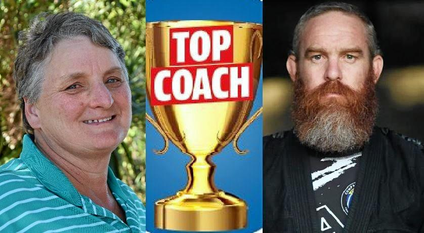 TOP COACH: Gympie' Junior sports stalwart Shereene Moy and popular jiu-jitsu coach rex Carney lead the charge in the hunt for Gympie's Top Coach.