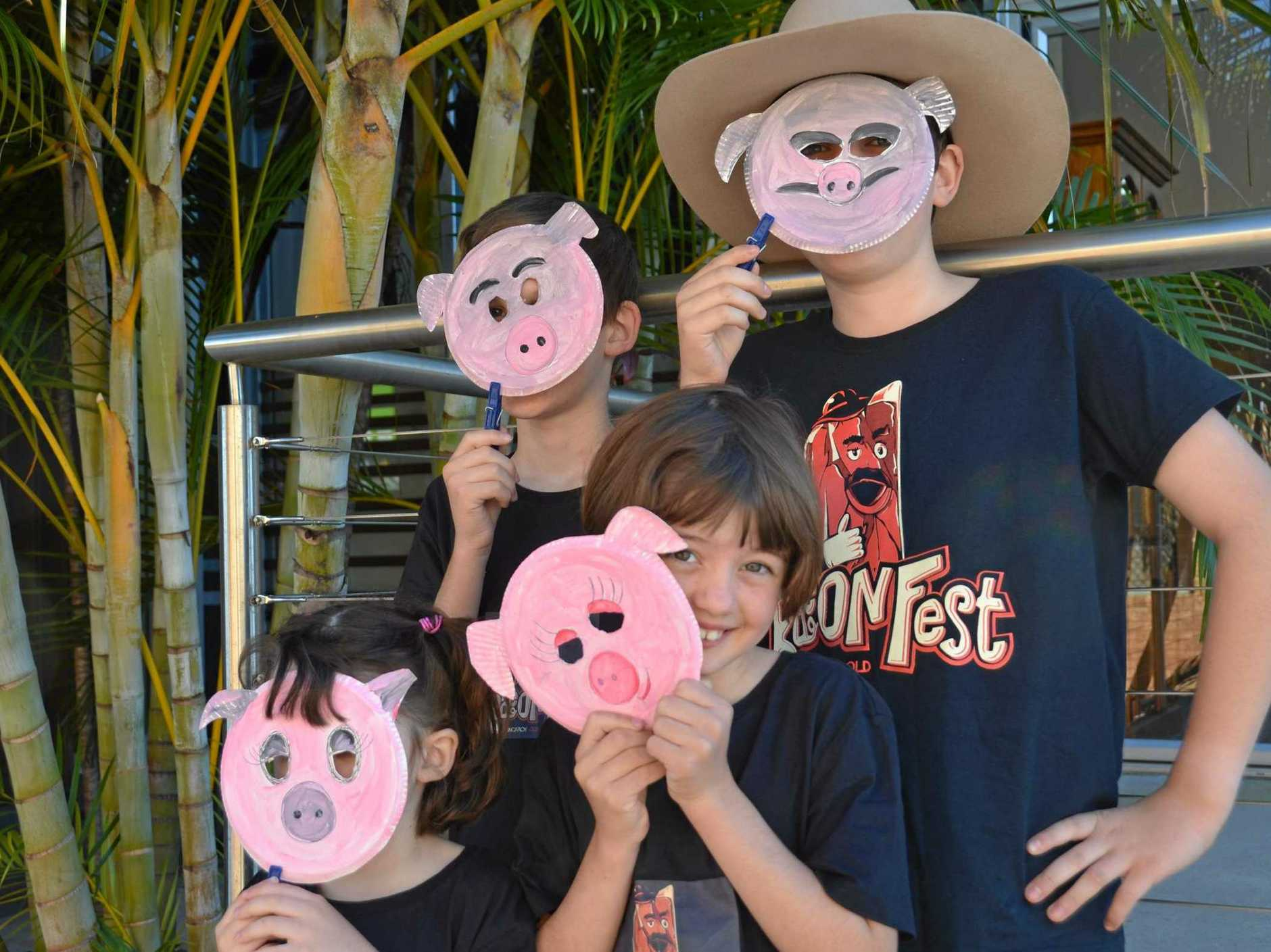 LITTLE PIGGIES: Jessica Mungall and siblings are excited for this year's BaconFest Little Piggies activities.