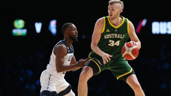 Jock Landale and the Boomers hope to serve it up to Team USA.