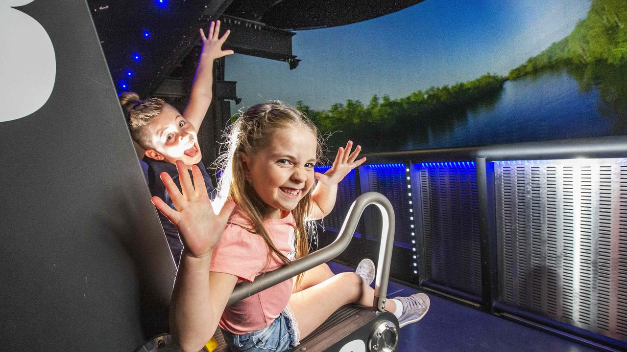 Lola and Hugo Lange on Dreamworld's new Sky Voyager ride. Picture: Nigel Hallett