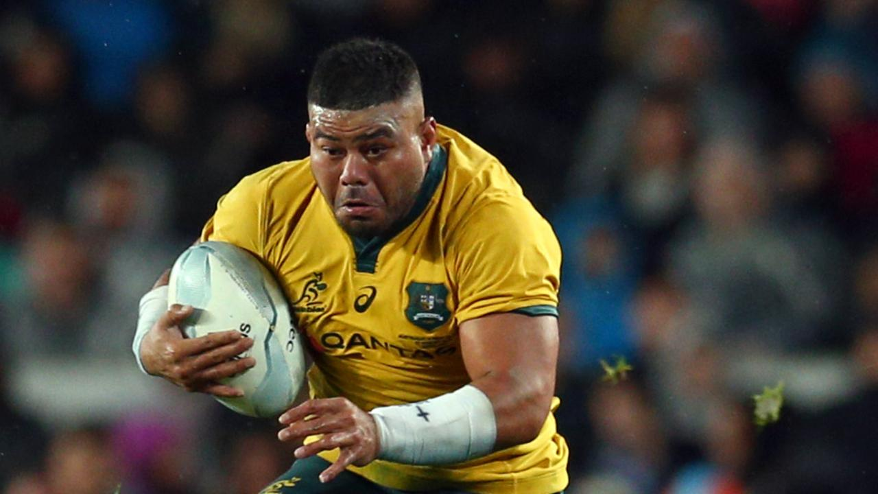 AUCKLAND, NEW ZEALAND - AUGUST 17: Tolu Latu in action for Australia during The Rugby Championship and Bledisloe Cup Test match between the New Zealand All Blacks and the Australian Wallabies at Eden Park on August 17, 2019 in Auckland, New Zealand. (Photo by Renee McKay/Getty Images)