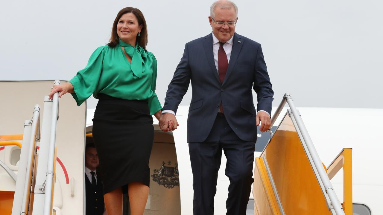 Jenny and Scott Morrison arrive in Vietnam yesterday. Picture: Adam Taylor/PMO