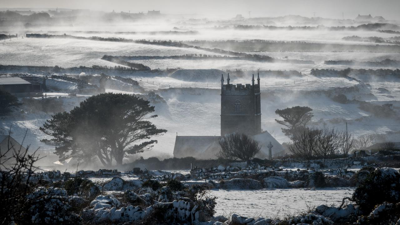 Normally mild Cornwall, in England's southwest, was covered in snow following a sudden stratospheric warming in 2018. Picture: Matt Cardy/Getty Images.