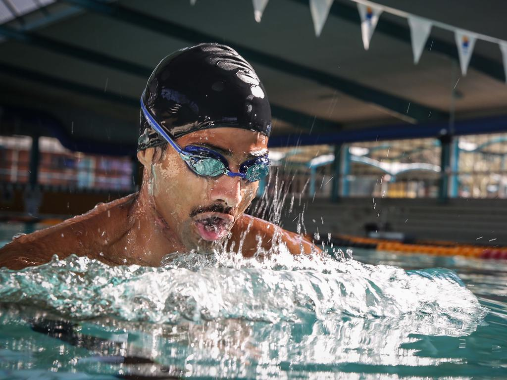 Mr Malik is only allowed to wear a swim cap, googles and a pair of speedos during the swim. Picture: AAP/Carmela Roche