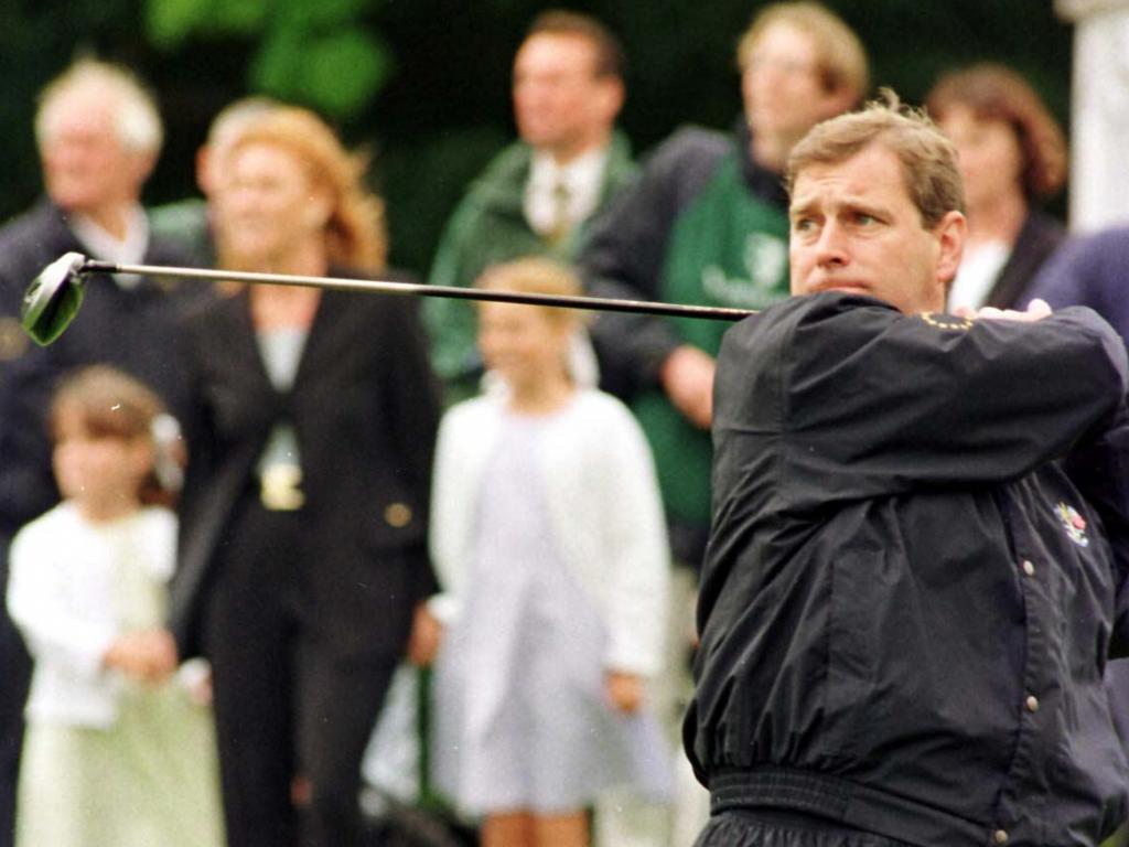 This picture from 1998 shows Prince Andrew playing golf at a charity event. Picture: Supplied
