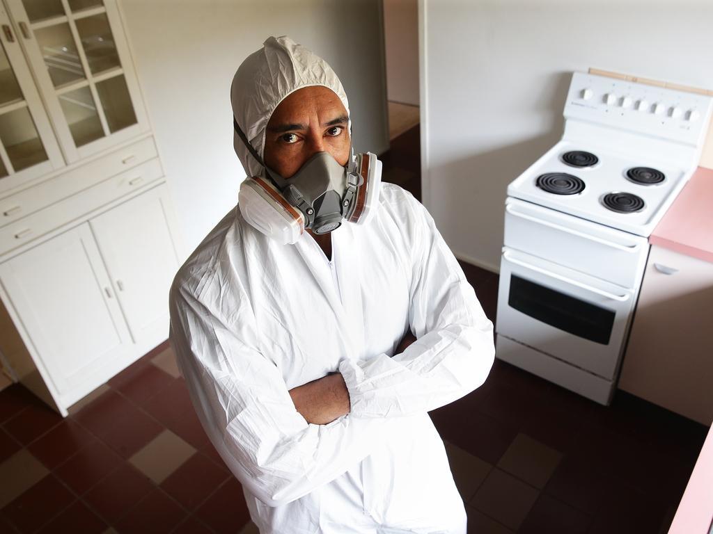 Meth Screen technician Dion Te Maru at a vacant rental property in Queensland.