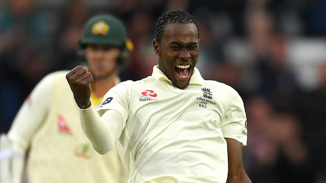 LEEDS, ENGLAND — AUGUST 22: Jofra Archer of England celebrates dismissing Nathan Lyon of Australia during day one of the 3rd Specsavers Ashes Test match between England and Australia at Headingley on August 22, 2019 in Leeds, England. (Photo by Gareth Copley/Getty Images)