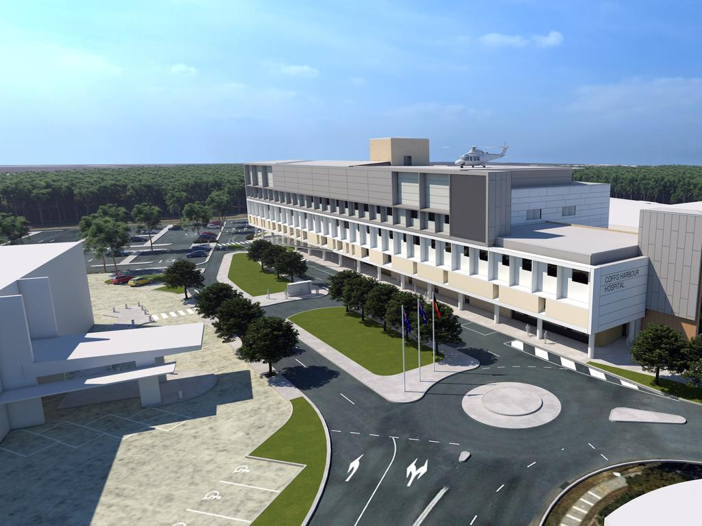 An artist's impression of the $190 million Coffs Harbour Health Campus hospital upgrade.