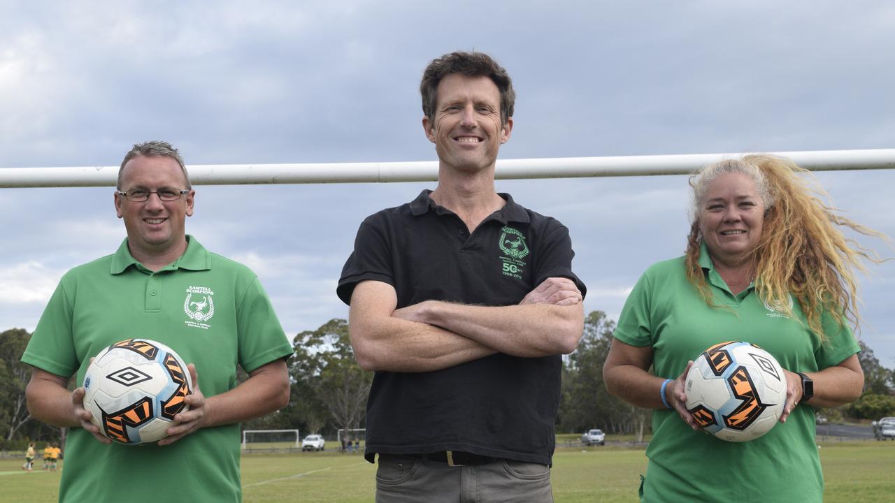 QUALITY TEAM: Sawtell FC new men's coach Jody Jenkins, president Simon Portus and women's coach Rachael Oberleuter.