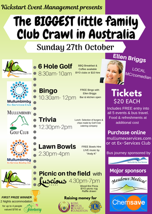 Would you like to be the first ever BIGGEST little Family Club Crawl winner? Raising funds and awareness for the for the Lions Medical Research Foundation.