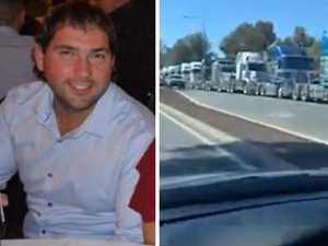 Truckies' moving tribute for mate killed in crash