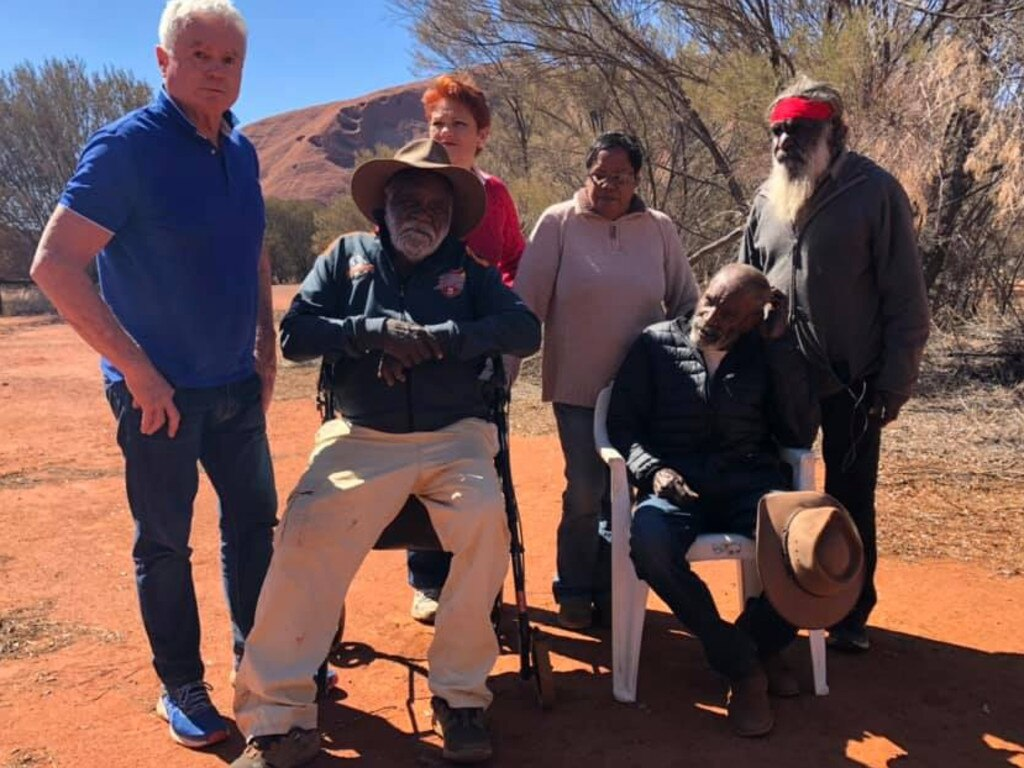 Pauline Hanson meets with senior traditional owners of Uluru. Picture: Twitter