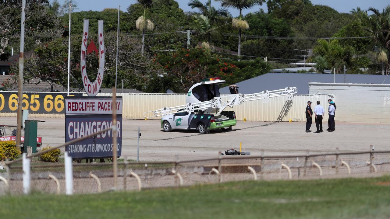 Police at Redcliffe Paceway following the horrific incident. Picture: Tara Croser.