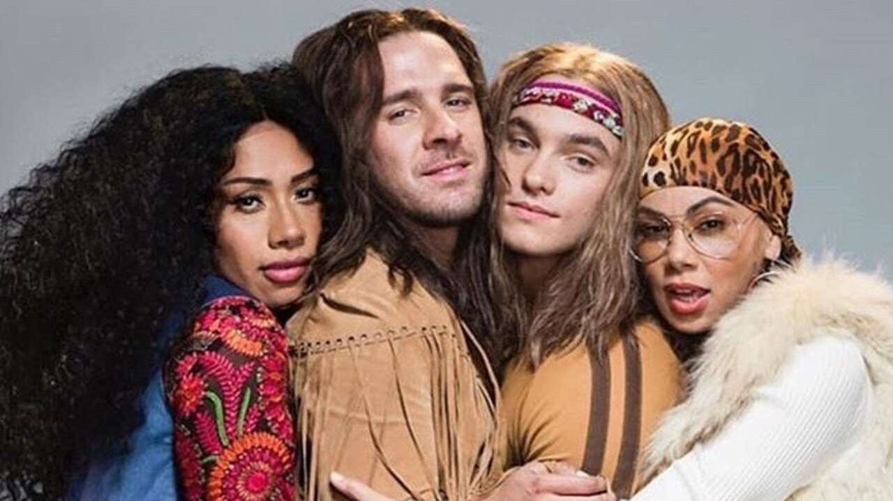 Paulini, Hugh Sheridan, Matthew Manahan and Prinnie Stevens in costume for the musical HAIR.