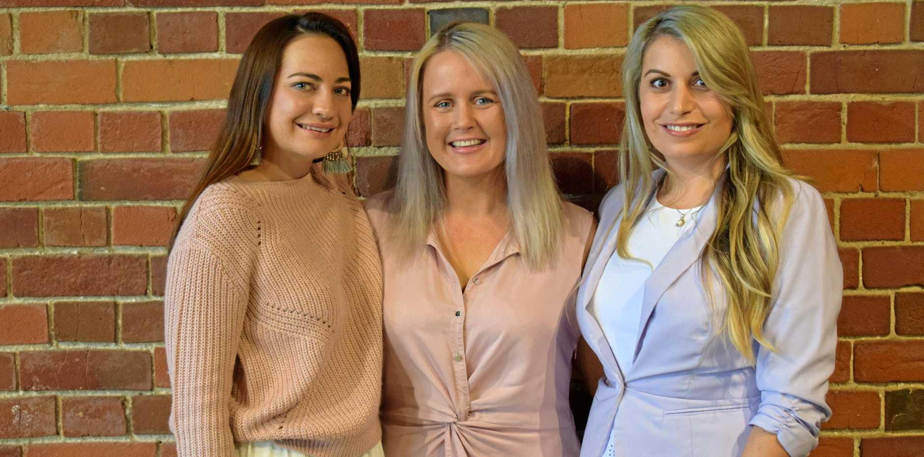 WOMEN TAKING CHARGE: Karine Davis, Beck Smith and Estella Davis are hosting a women in business event next month at Headrick's Lane.