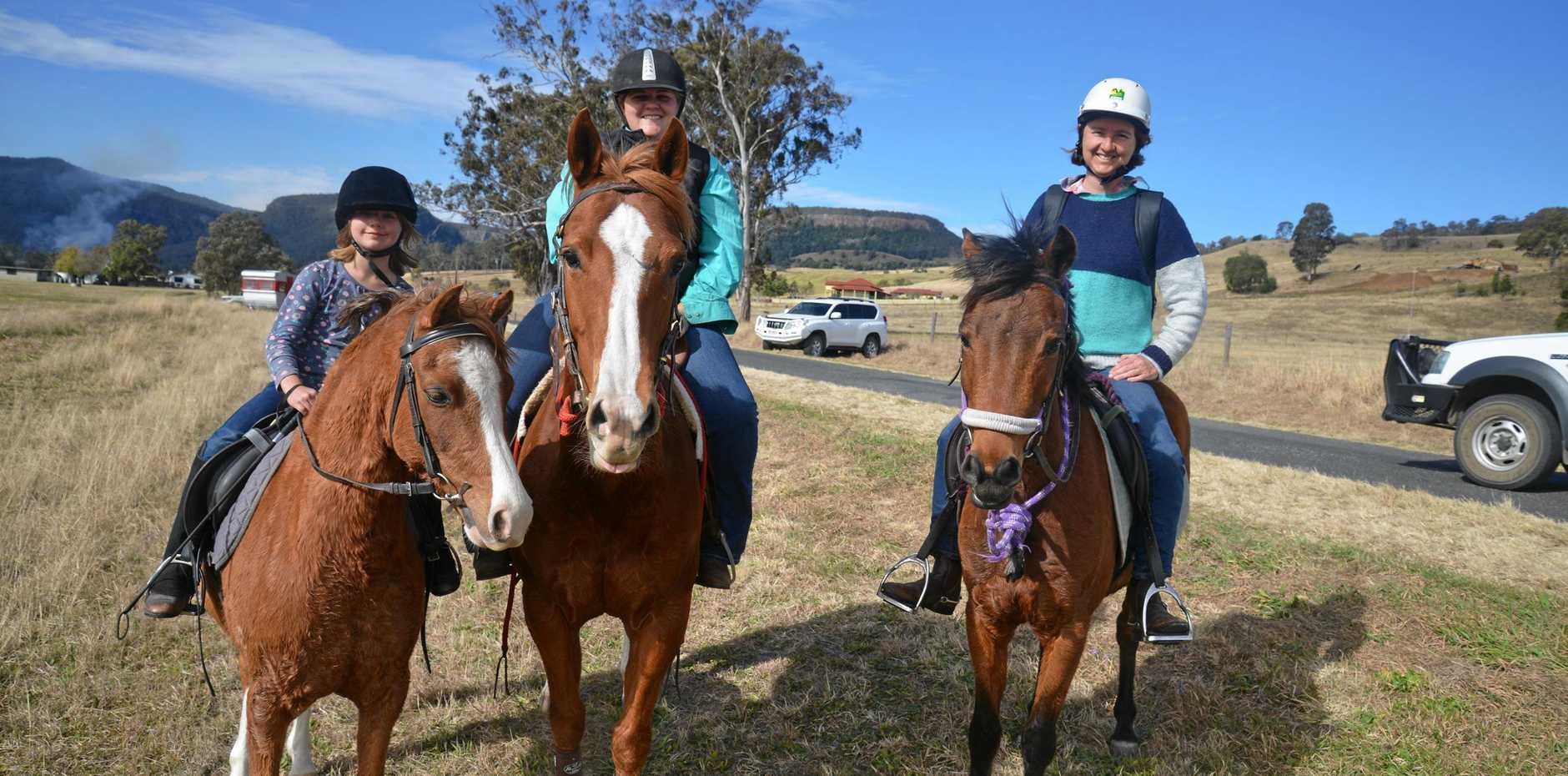(From left) Jacqueline Wood, Kelly Whieldon and Melinda Wood in a past Killarney Waddle, Saddle and Pedal.