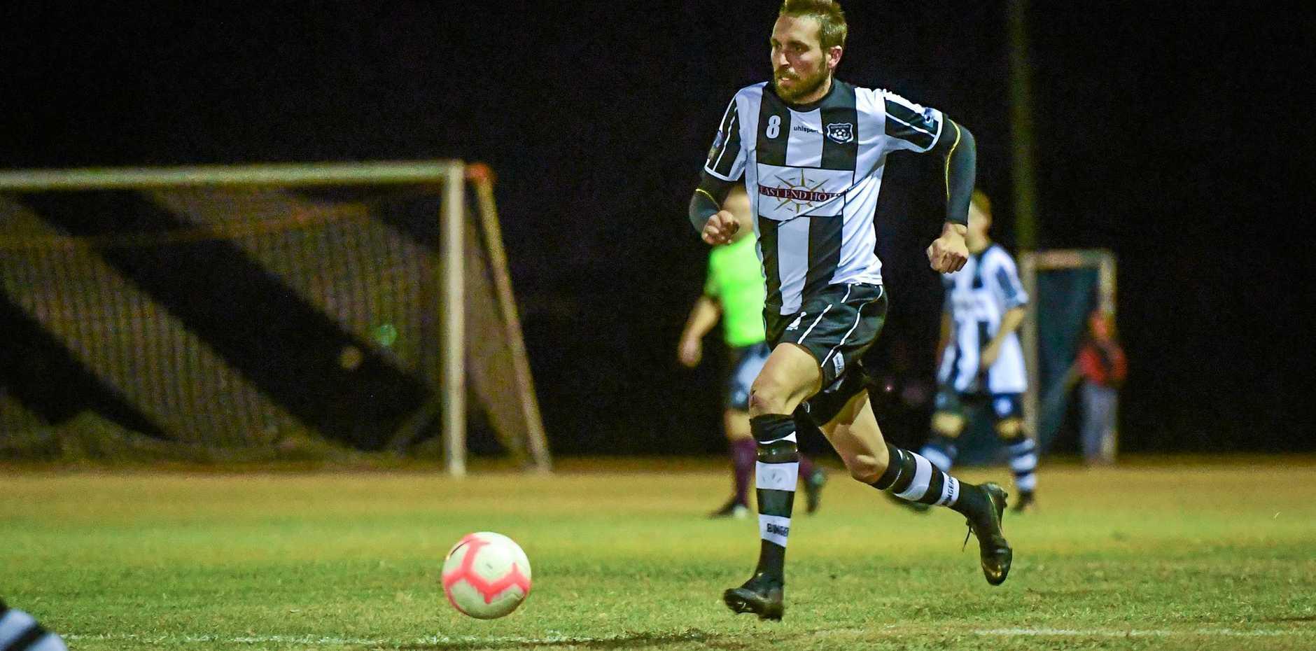 ONE-SIDED: Joshua Watson runs the ball forward for Bingera.