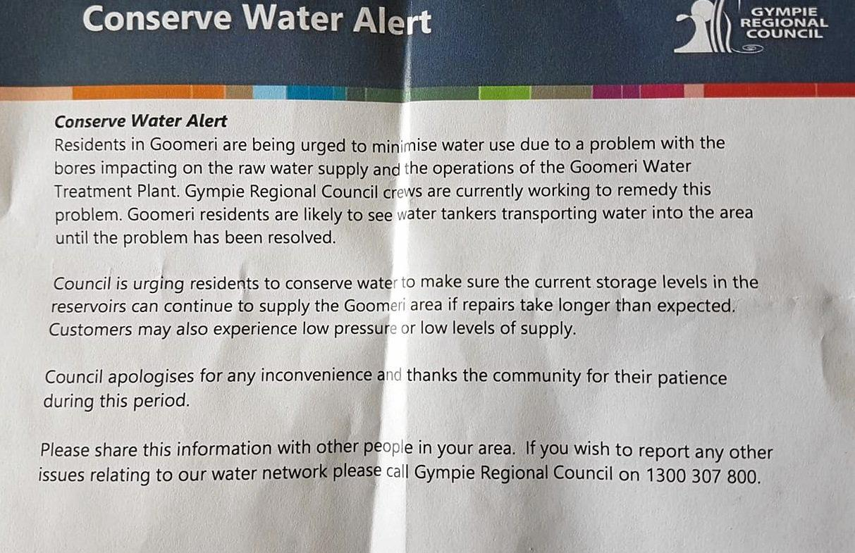 Gympie Regional Council flyer on Goomeri water problem.