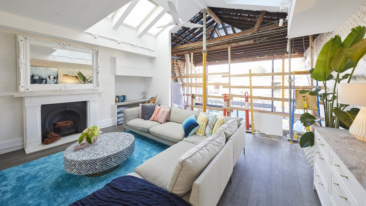 Mitch and Mark knocked down the walls to their master bedroom to transform it into an entertaining space. Picture: The Block