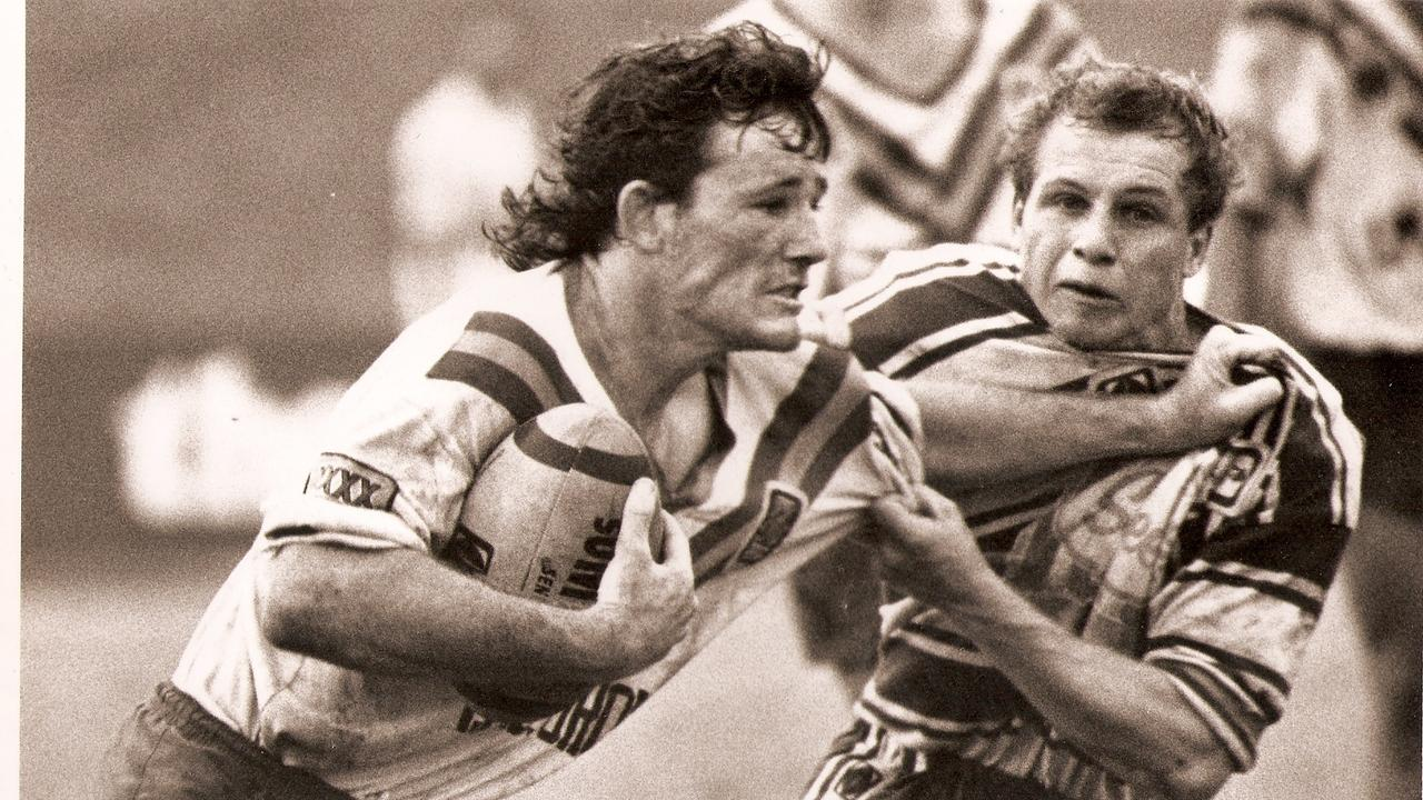 Former rugby league player Paul Fisher, who now has MND, on the footy field.