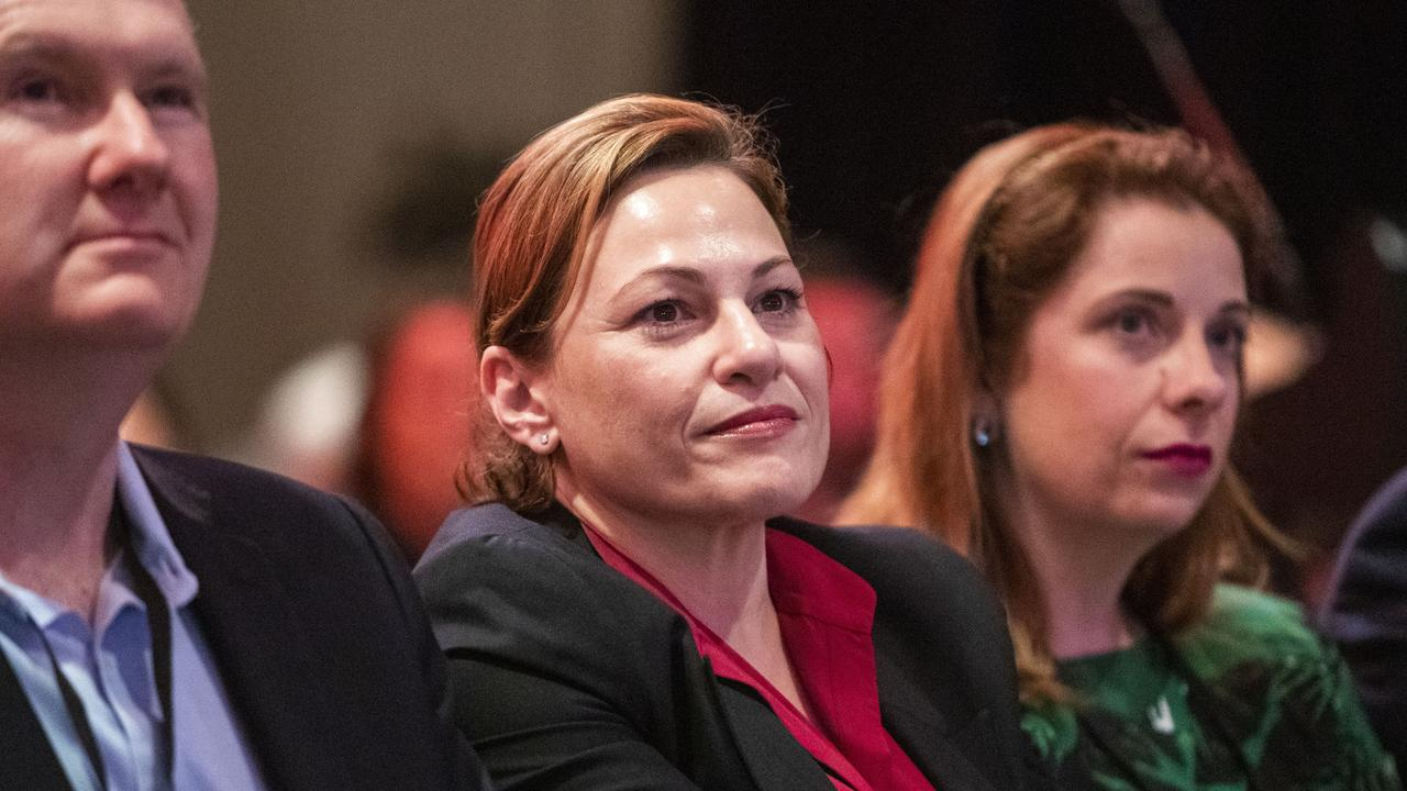 Queensland Treasurer Jackie Trad (centre), with Federal Shadow Minister for Industrial Relations Tony Burke and Member for Lilley Anika Wells. Picture: Glenn Hunt/AAP