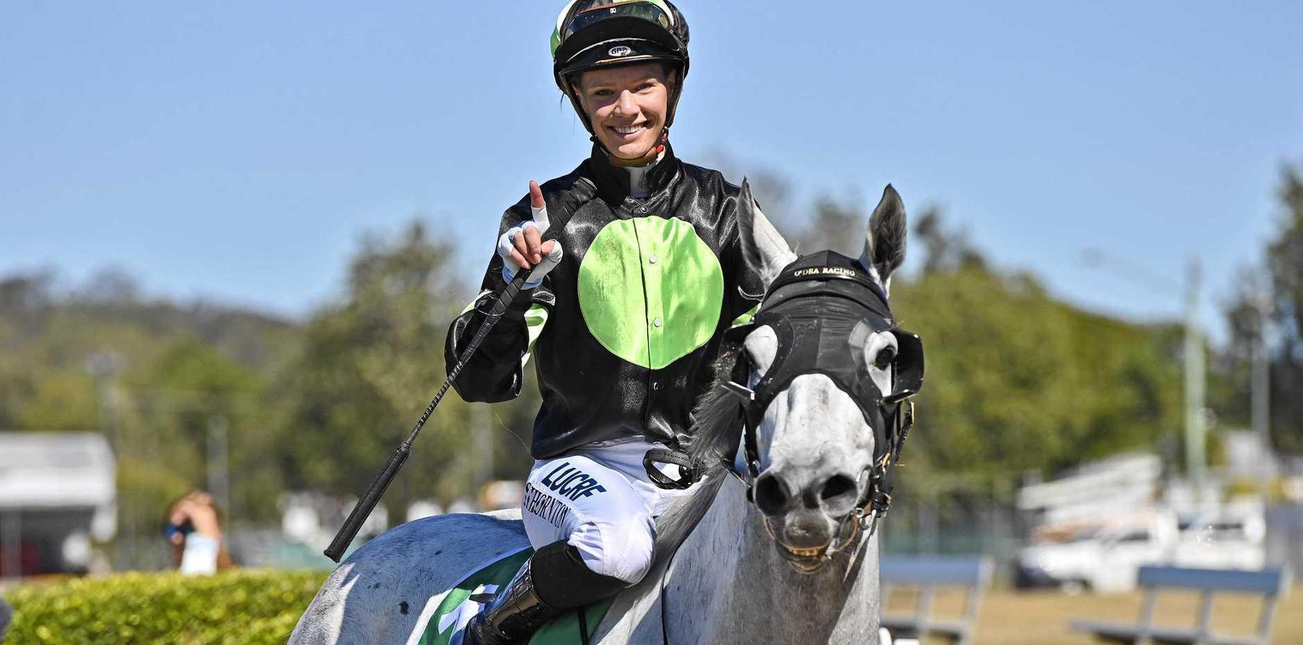 Jockey Stephanie Thornton enjoys her win aboard So Spirited.